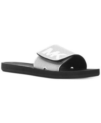'MK' logo perforated mirror band slide sandals