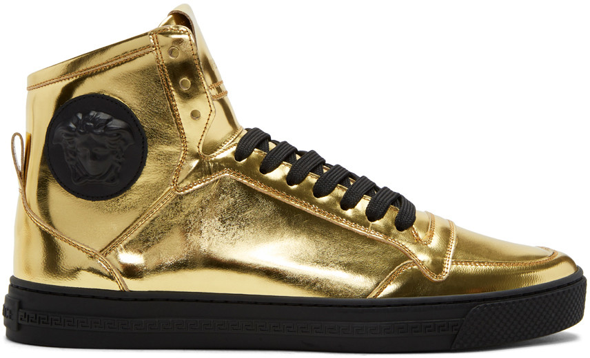 Gold Medusa High-Top Sneakers