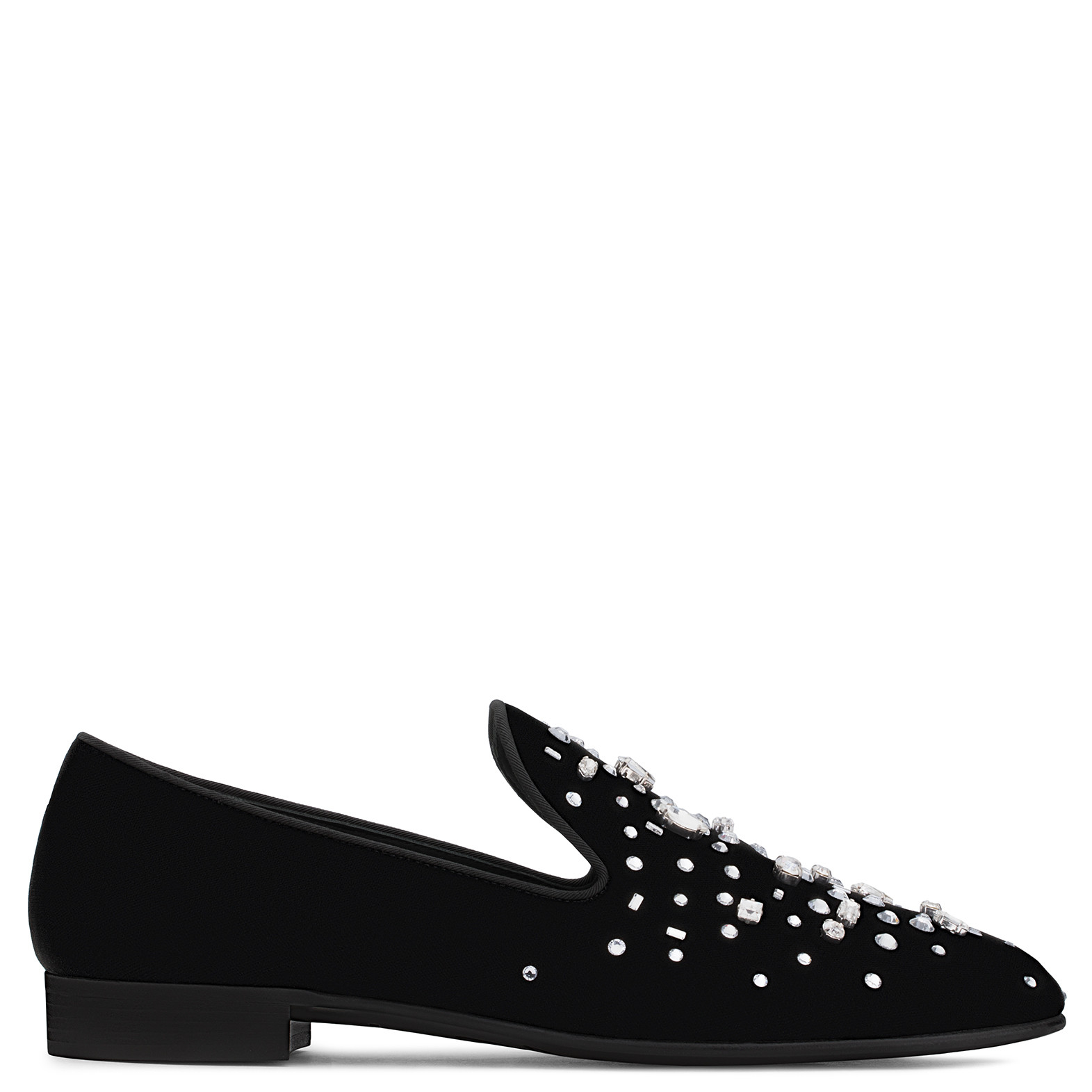 Giuseppe ZanottiDenim and black leather loafer with crystals REFLECT BkIScj0