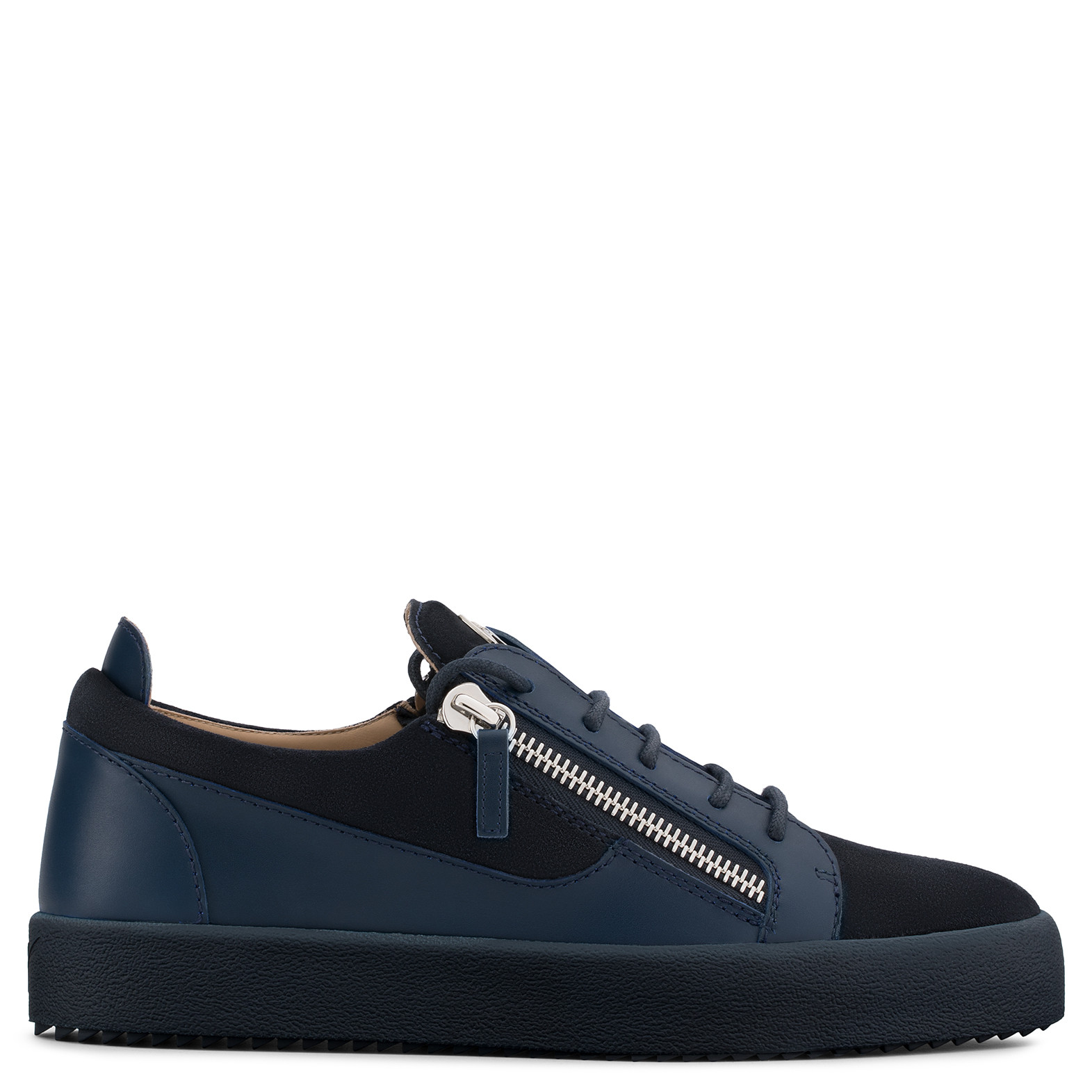 Giuseppe ZanottiBlue calf leather and white suede low-top DOUBLE CbSQ4O2jx