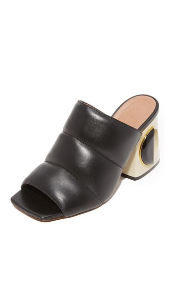 HIGH HEEL BLACK LEATHER MULES