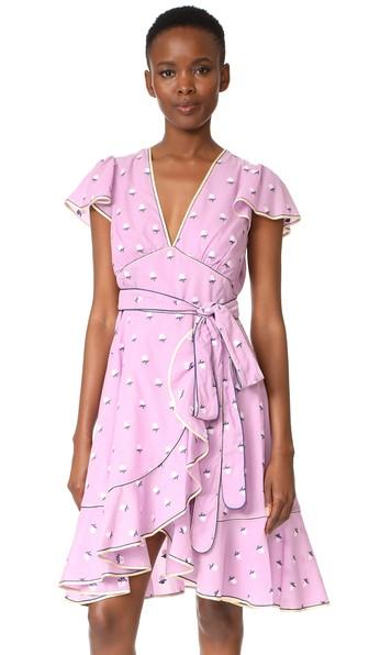 ROSE FIL COUPE FLUTTER SLEEVE DRESS
