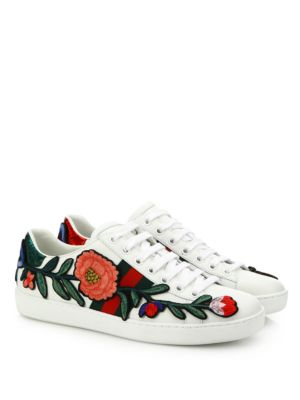New Ace Floral-Embroidered Leather Low-Top Sneakers