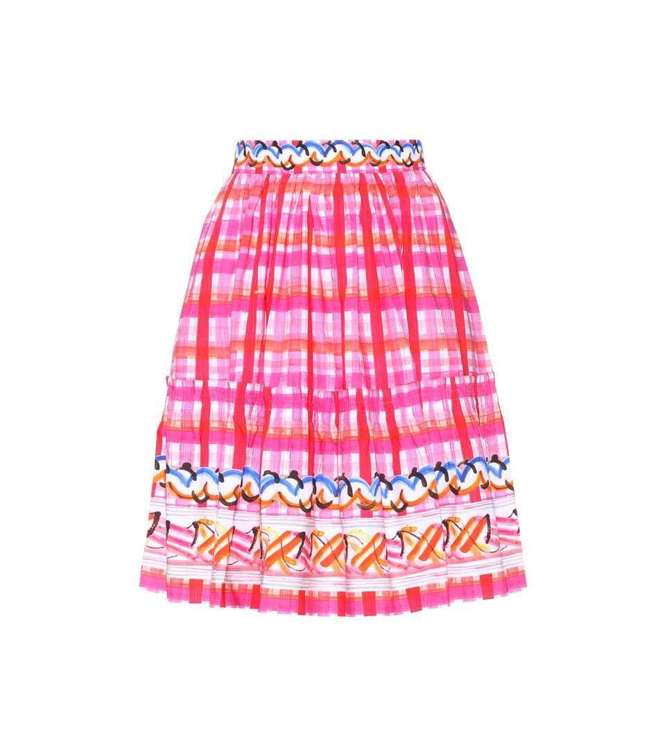 abstract check skater skirt