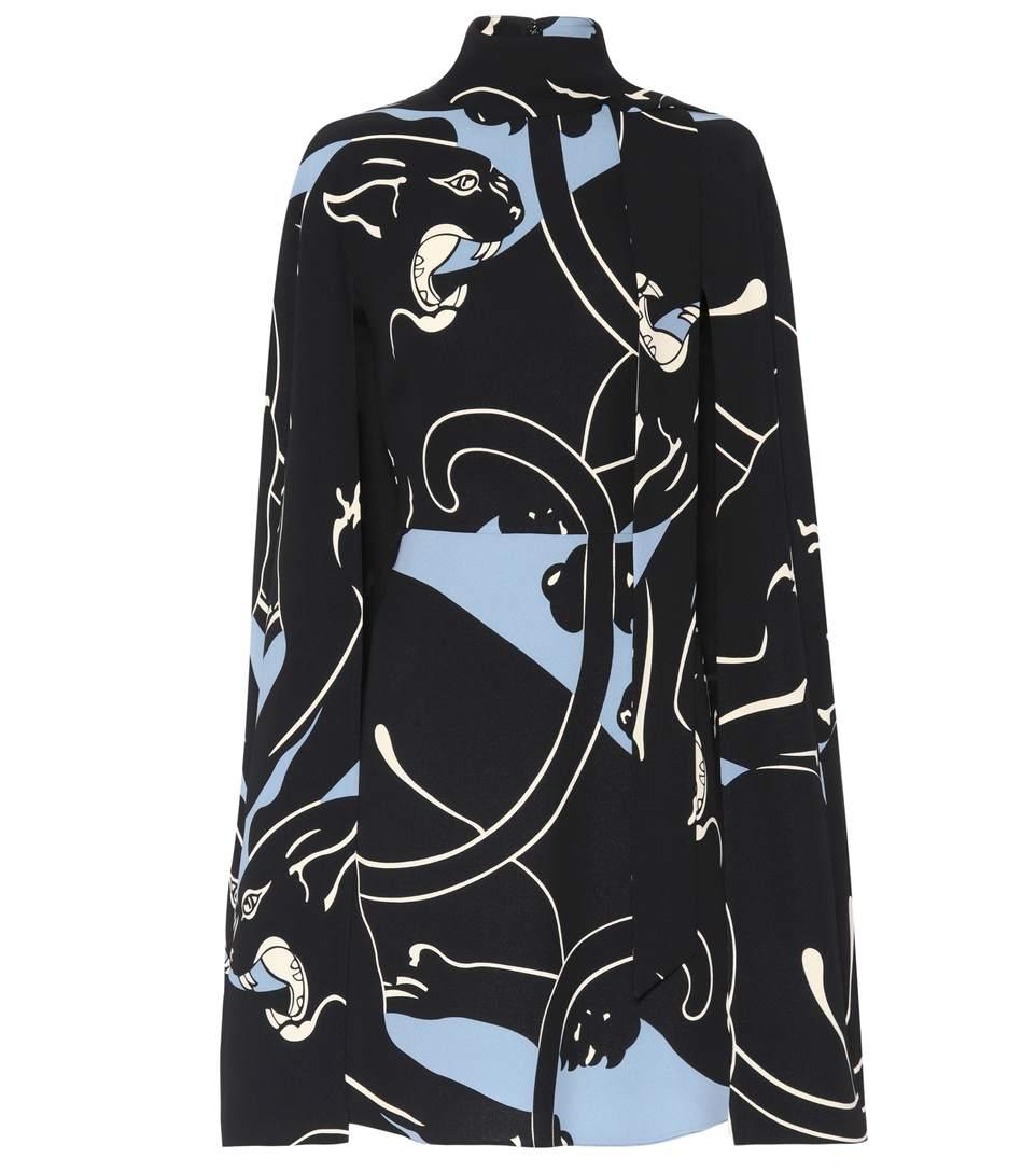 PANTHER-PRINT SILK CAPE DRESS