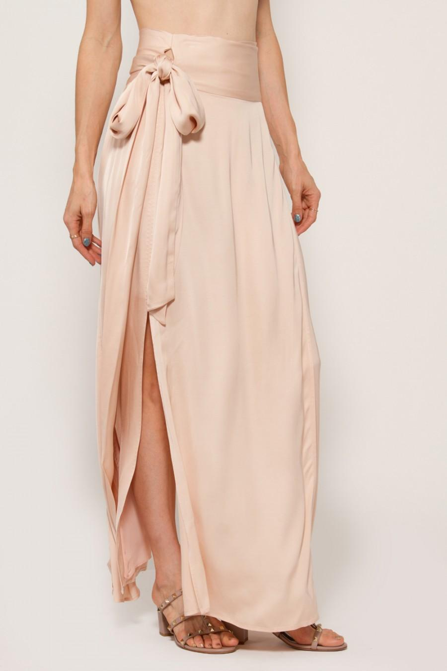 1c3aec6433 ELIZABETH AND JAMES ALMERIA WRAP-TIE MAXI SKIRT W/ SLIT, BLUSH, MEADOW