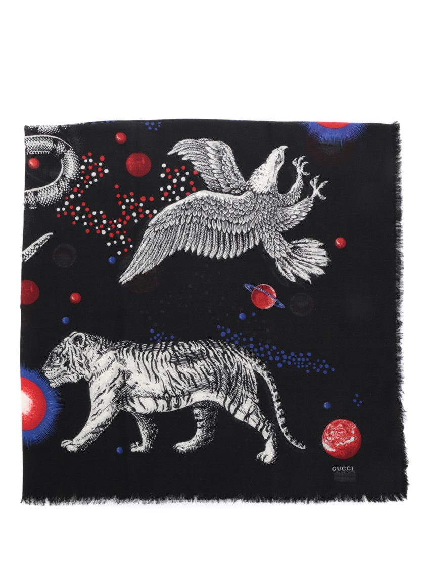 Space and animal-print wool and silk-blend scarf