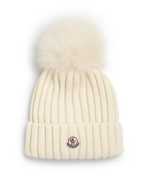 Moncler Beanies Fur Pom-Pom Ribbed Wool Hat