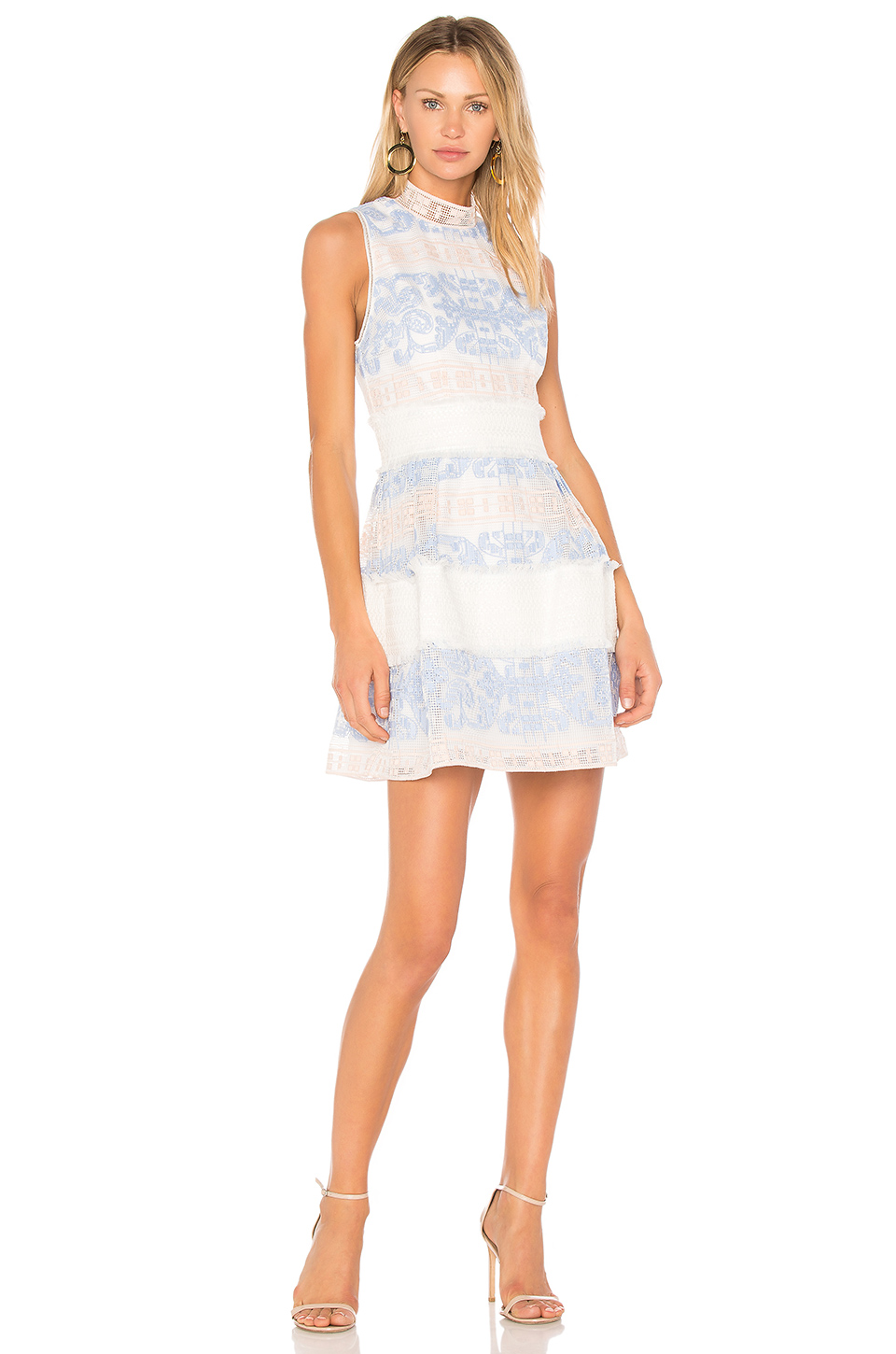 ALEXIS Minika Embroidered Mock-Neck Dress, Blue Pattern