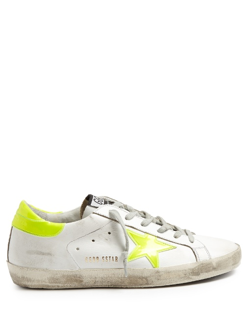LEATHER SUPERSTAR SNEAKERS IN WHITE, YELLOW, NEON.