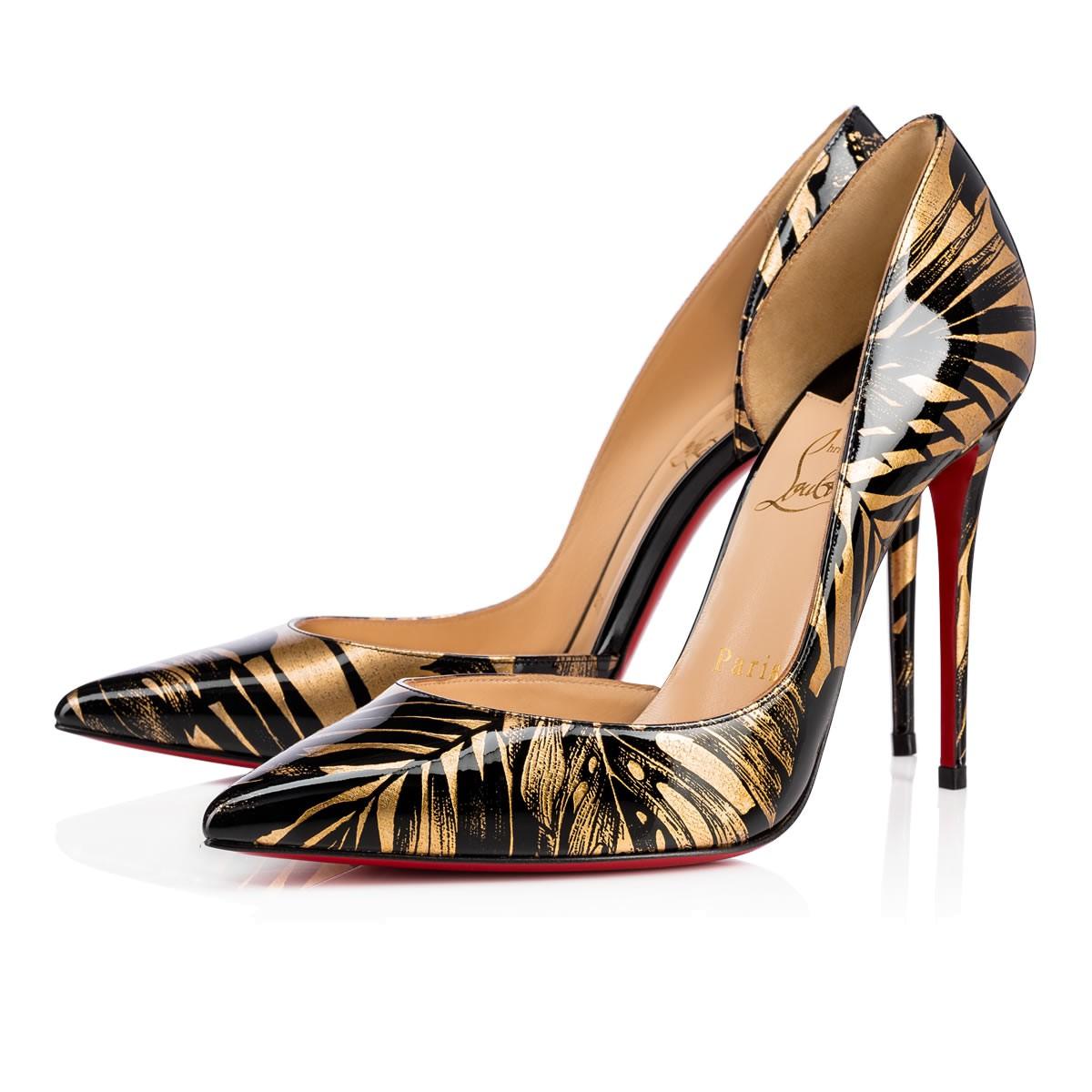 Black Patent Shoes Gold Heel