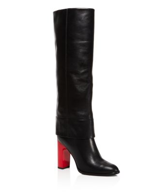 Opening Ceremony Leathers STOVEPIPE BLOCK HEEL TALL BOOTS