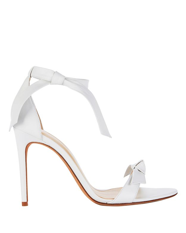 Clarita Double Bow White Leather Sandals