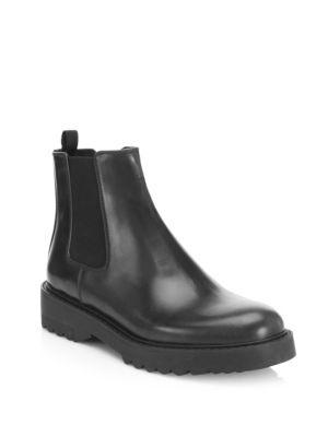 Lug Sole Leather Chelsea Booties