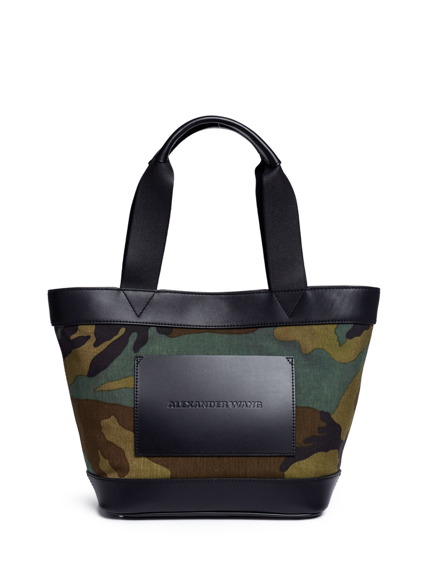 Leather panel camouflage print canvas tote