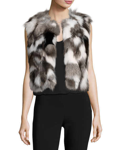 BOUTIQUE MOSCHINO Cropped Patchwork Fox Fur Vest, Gray Pattern