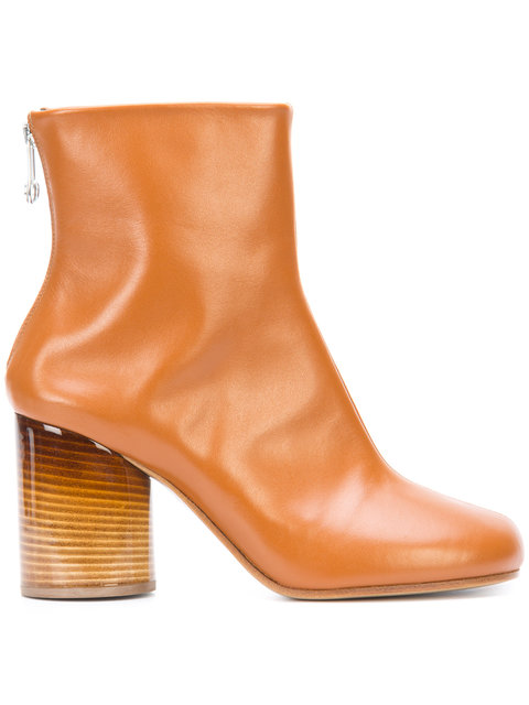 80MM SOCK BRUSHED LEATHER ANKLE BOOTS