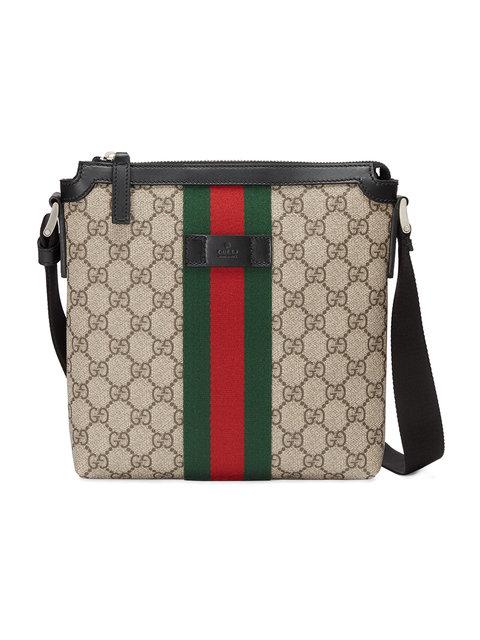 Gucci Web Gg Supreme Flat Messenger Bag In Beige Modesens