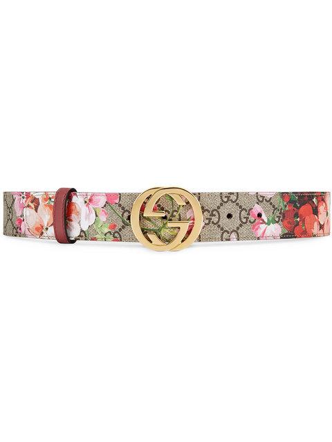 Floral Logo Print Belt
