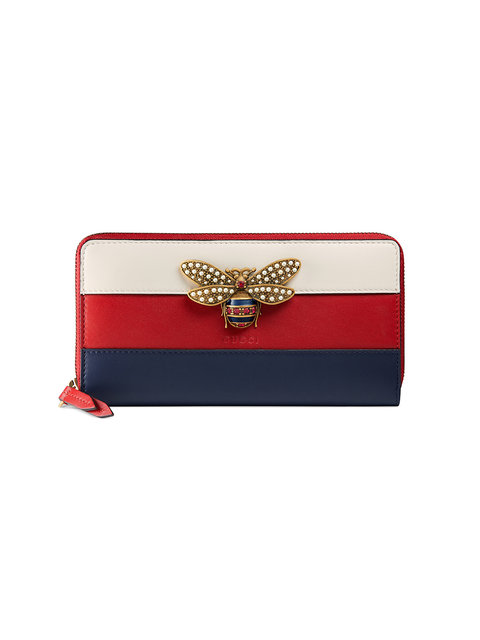 Queen Margaret bee-embellished leather wallet
