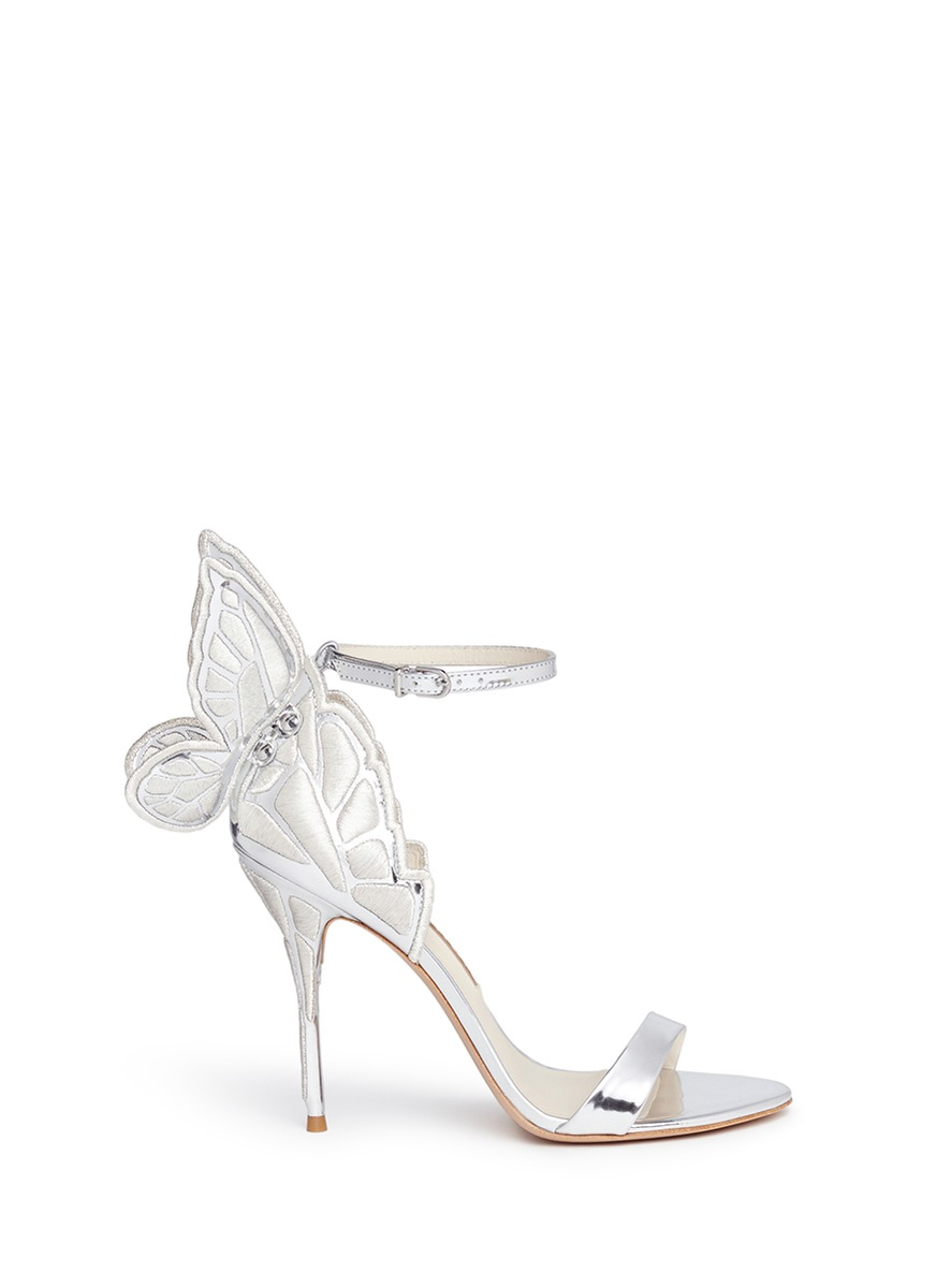 'Chiara' butterfly embroidered mirror leather sandals