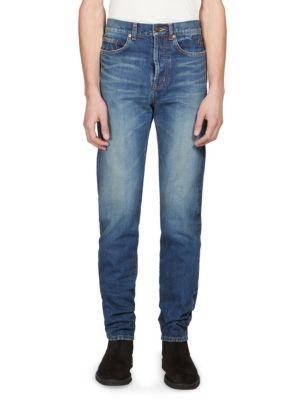 SAINT LAURENT 17.5 Cm Washed Cotton Denim Jeans in Blue