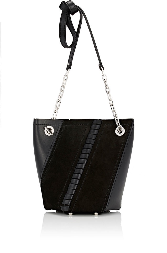 MINI HEX LEATHER AND SUEDE BUCKET BAG