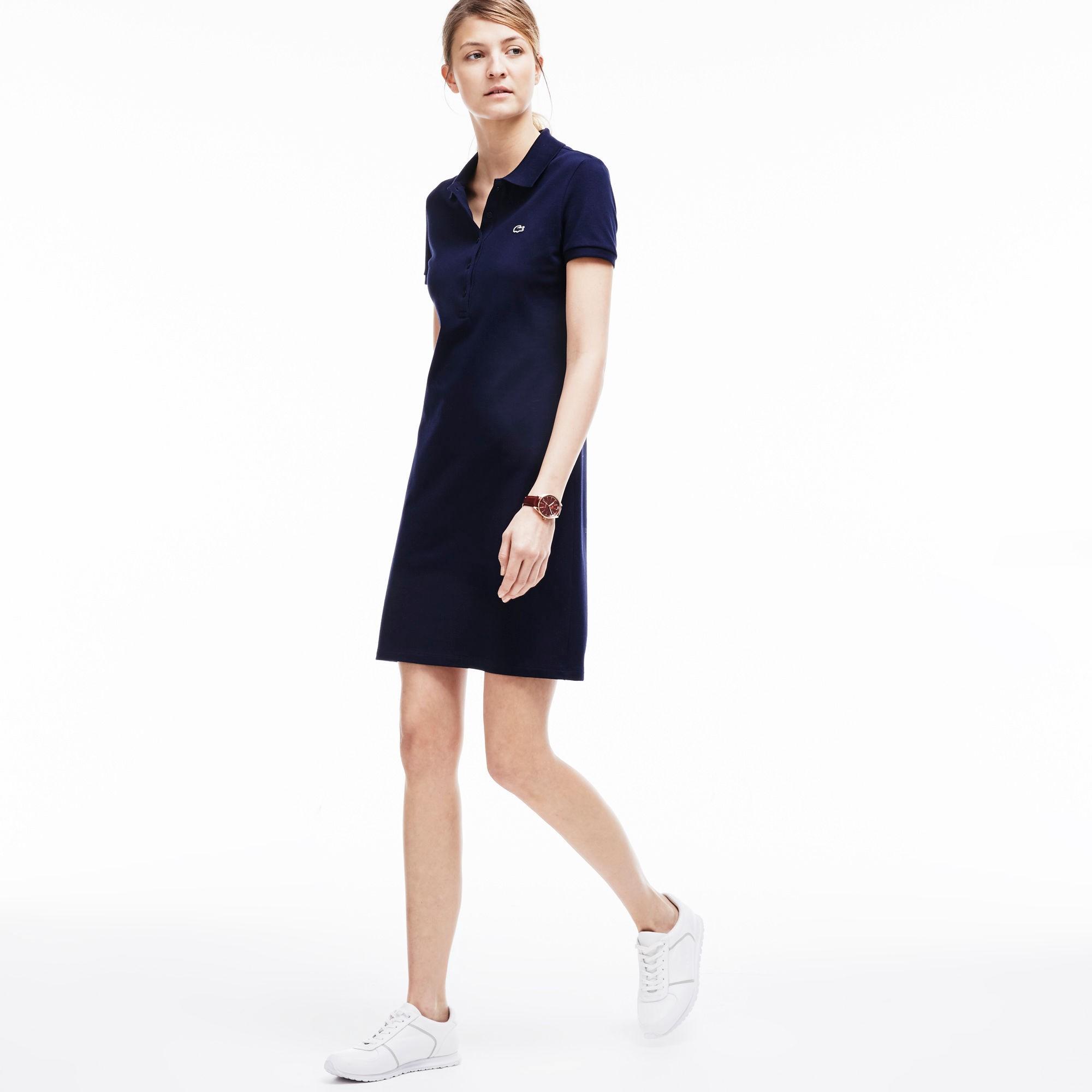 Lacoste Cottons WOMEN'S STRETCH PIQUé POLO DRESS - NAVY BLUE