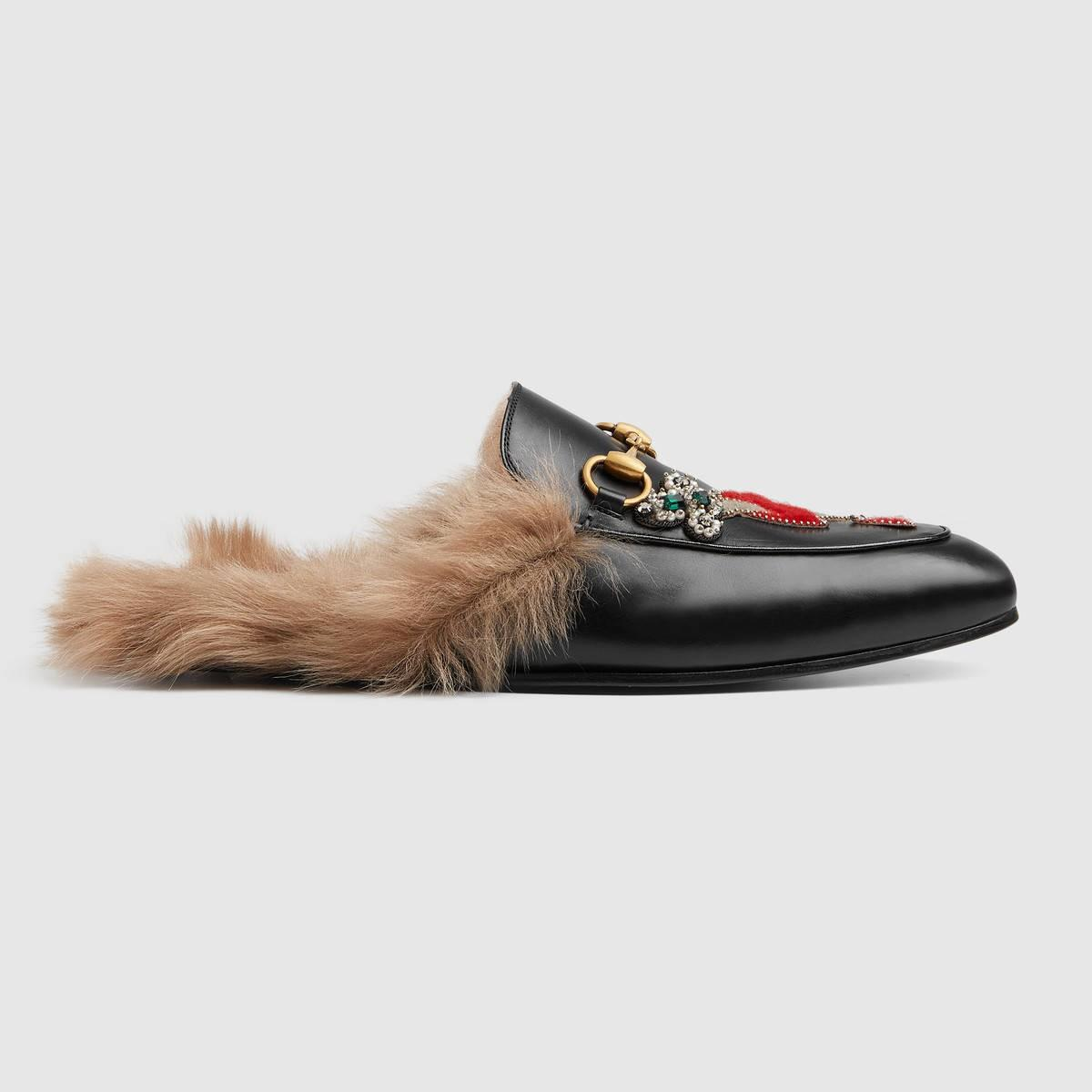 Gucci Leathers Princetown slipper with appliqués - black leather