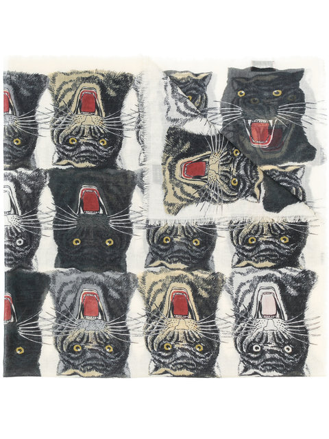 TIGERS FACE PRINT SCARF