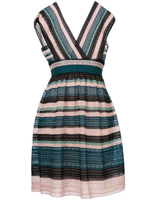 M MISSONI Cap-Sleeve Lace Ribbon Knit A-Line Dress, Teal