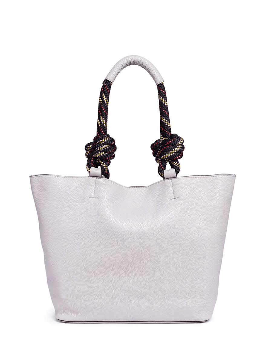 Climbing rope handle pebbled leather tote
