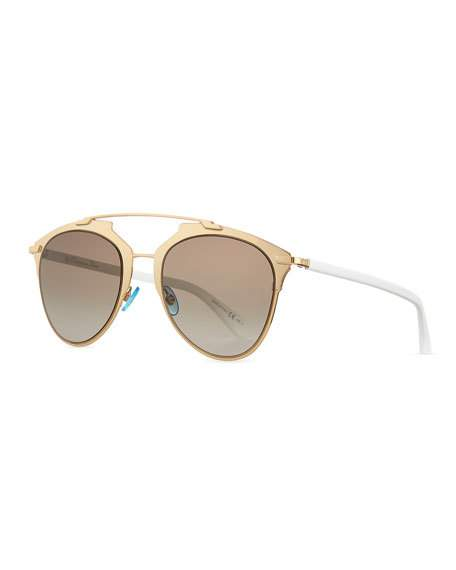 WOMEN'S REFLECTED MIRRORED BROW BAR AVIATOR SUNGLASSES, 52MM