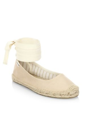 Soludos Leathers Leather Ankle-Wrap Ballet Flats