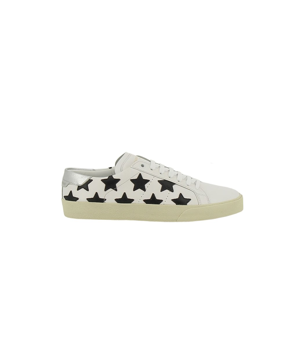 SAINT LAURENT WOMEN'S  WHITE/BLACK LEATHER SNEAKERS