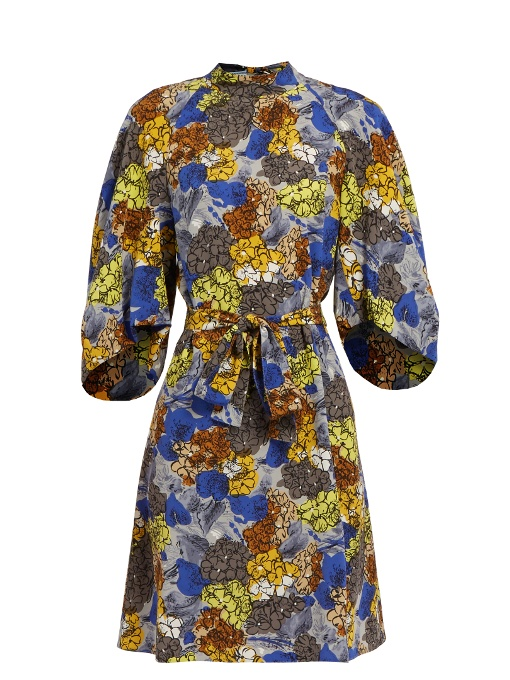 Hydrangea-print  silk-crepe dress