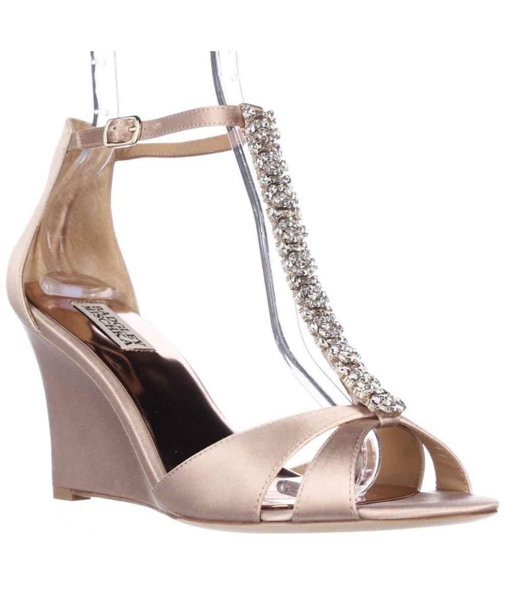 b11ee07e91c BADGLEY MISCHKA Romance Wedge Jeweled T-Strap Dress Sandals