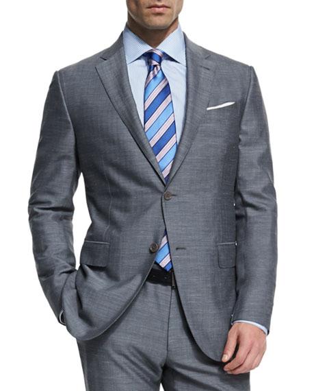ERMENEGILDO ZEGNA Milano Easy Herringbone Two-Piece Suit, Gray in No Color