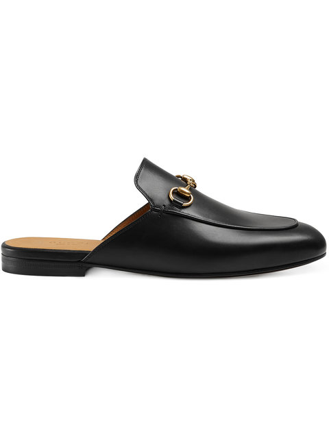 Gucci Princetown Leather Horsebit Mule Slipper Flat, Black