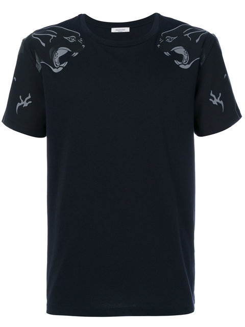 VALENTINO Slim-Fit Panther-Print Cotton-Jersey T-Shirt in Black