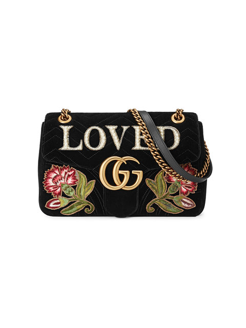 Medium Marmont Embroidered Velvet Loved Bag