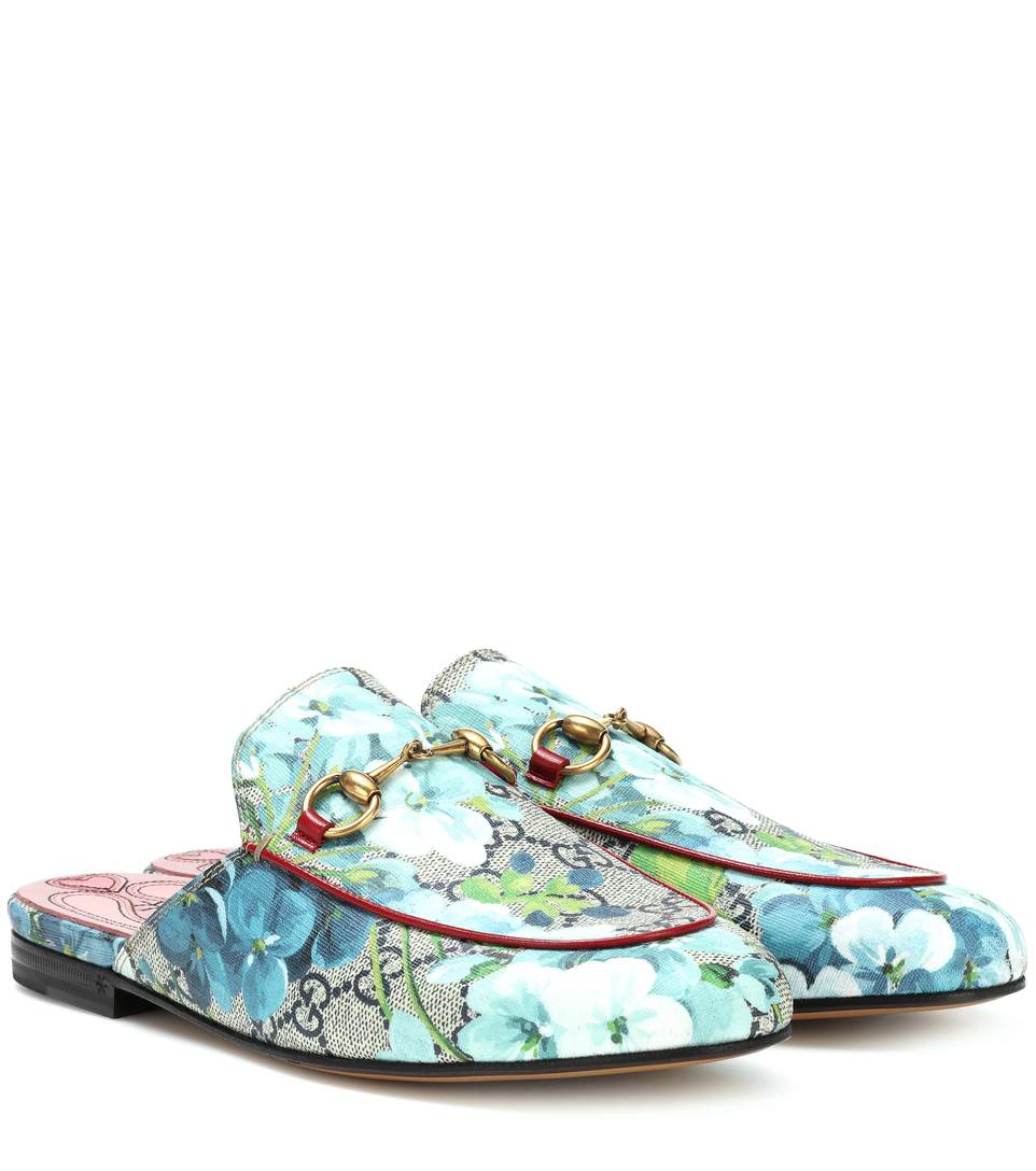 Princetown GG Blooms Slippers in Blue
