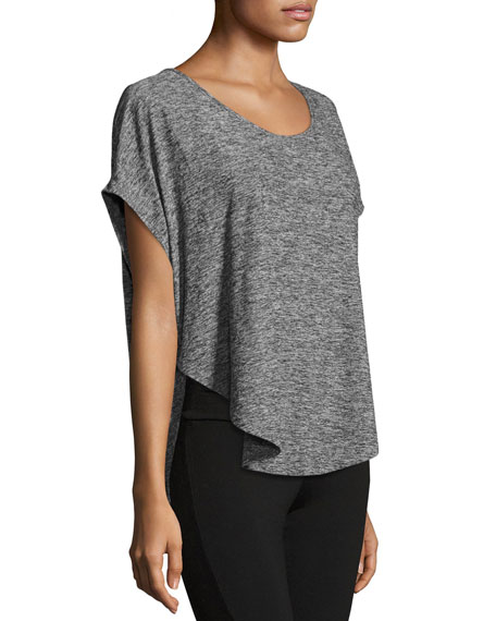 BEYOND YOGA SCALLOPED JERSEY TEE, BLACK MERLOT