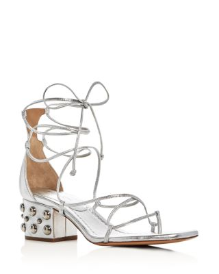 Ayers Metallic Lace Up Studded Block Heel Sandals