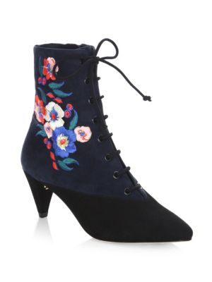 CASSIDY EMBROIDERED LACE-UP 45MM BOOTIE, BLACK/BATTLESHIP BLUE/PANSY BOUQUET