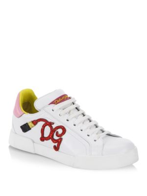 DOLCE AND GABBANA WHITE LIPSTICK SNEAKERS
