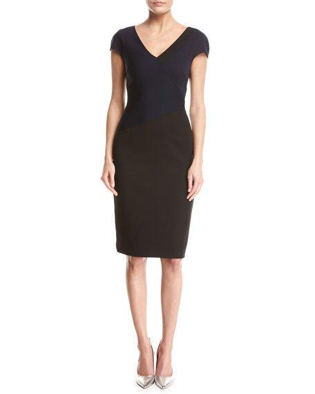 Diane Von Furstenberg Cottons BANDED COLORBLOCKED CAP-SLEEVE DRESS, BLUE