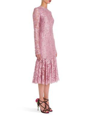 Dolce & Gabbana Silks Jackie Lace Ruffle-Hem Dress