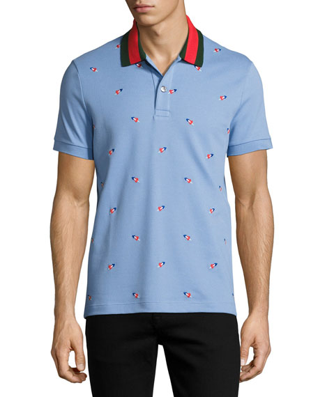 Gucci Cottons COTTON PIQUE POLO WITH PIERCED HEARTS