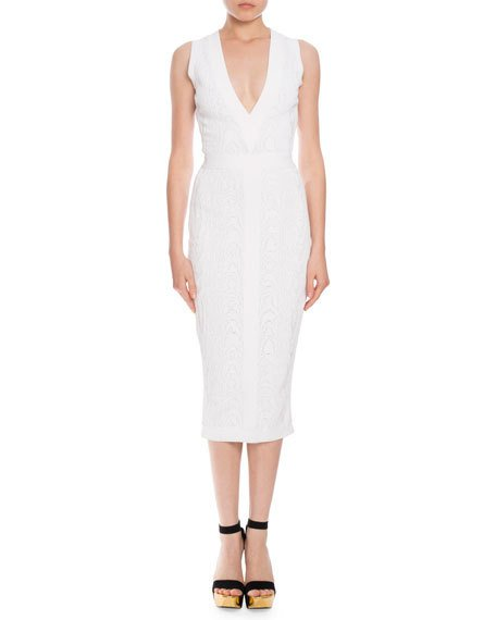 Balmain Midi dresses SLEEVELESS V-NECK JACQUARD MIDI DRESS, OPTIC WHITE